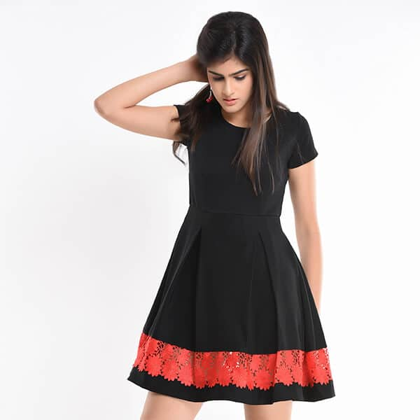 Up 2438 Pleated Flared Mini Dress With Lace Insert Uptown