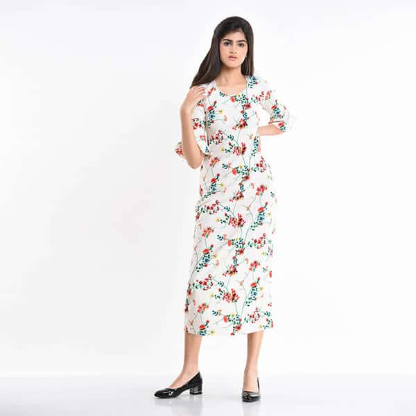a6d1b8da27 UP 2433 – Floral printed maxi dress with bell sleeves – Uptown ...