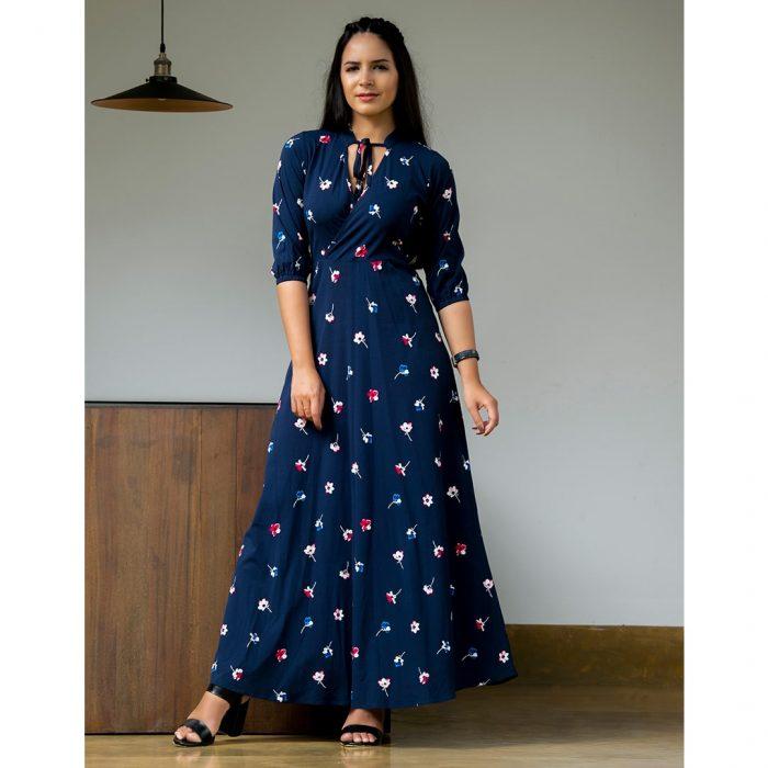 Normal Frock Designs 2017 Sri Lanka: Overlapping Collar Tie Maxi Dress