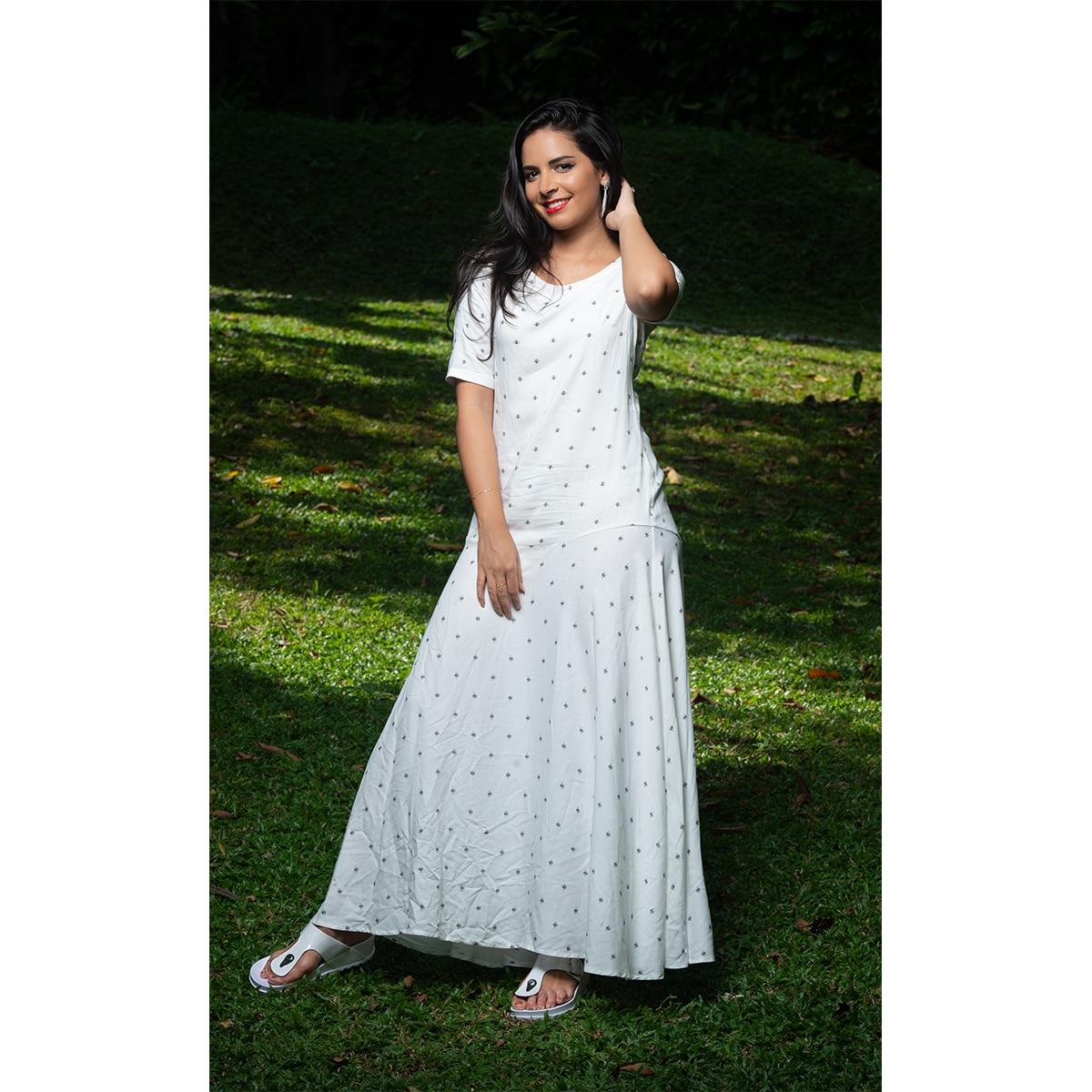 Normal Frock Designs 2017 Sri Lanka: Flare Mid-sleeve Print Maxi Dress